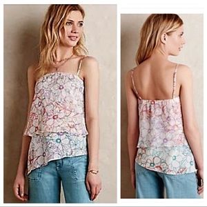 Anthropologie MAEVE Floral Silk Tank